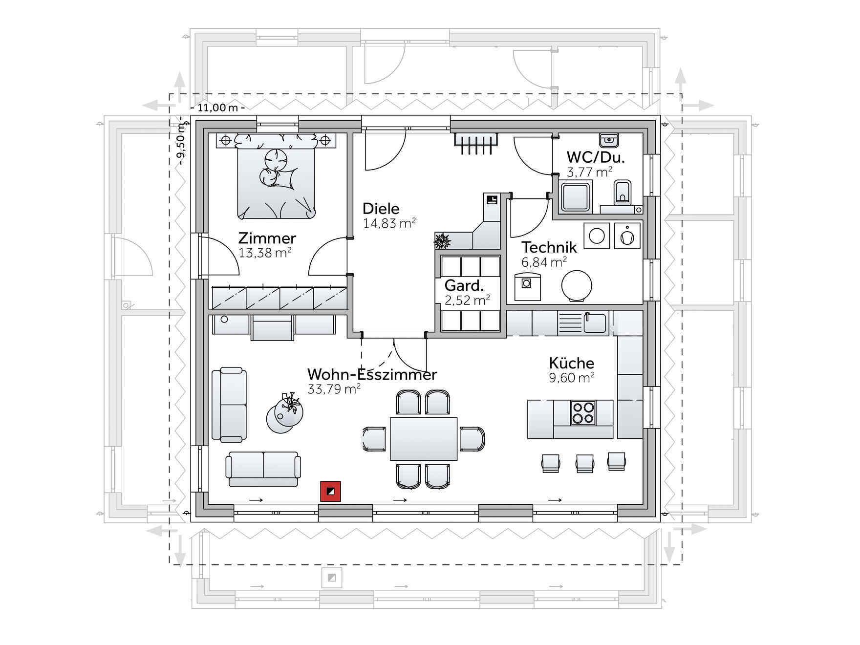 Grundriss Einfamilienhaus Offene Küche. Schreibtafel Küche Esszimmer ...