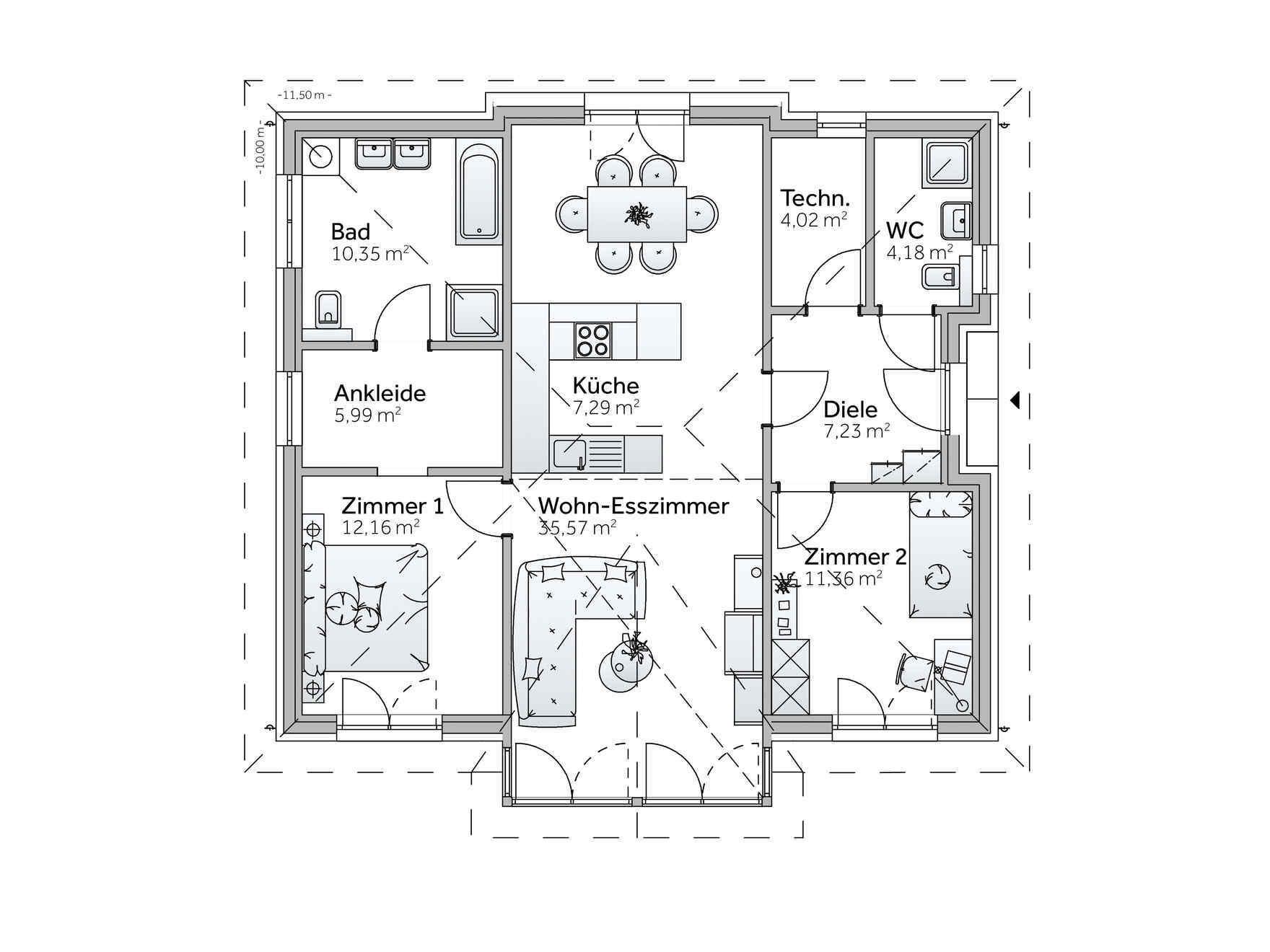 Bungalow mit individuellem Bungalow Grundriss gestalten | VARIO ... | {Küche planen grundriss 90}