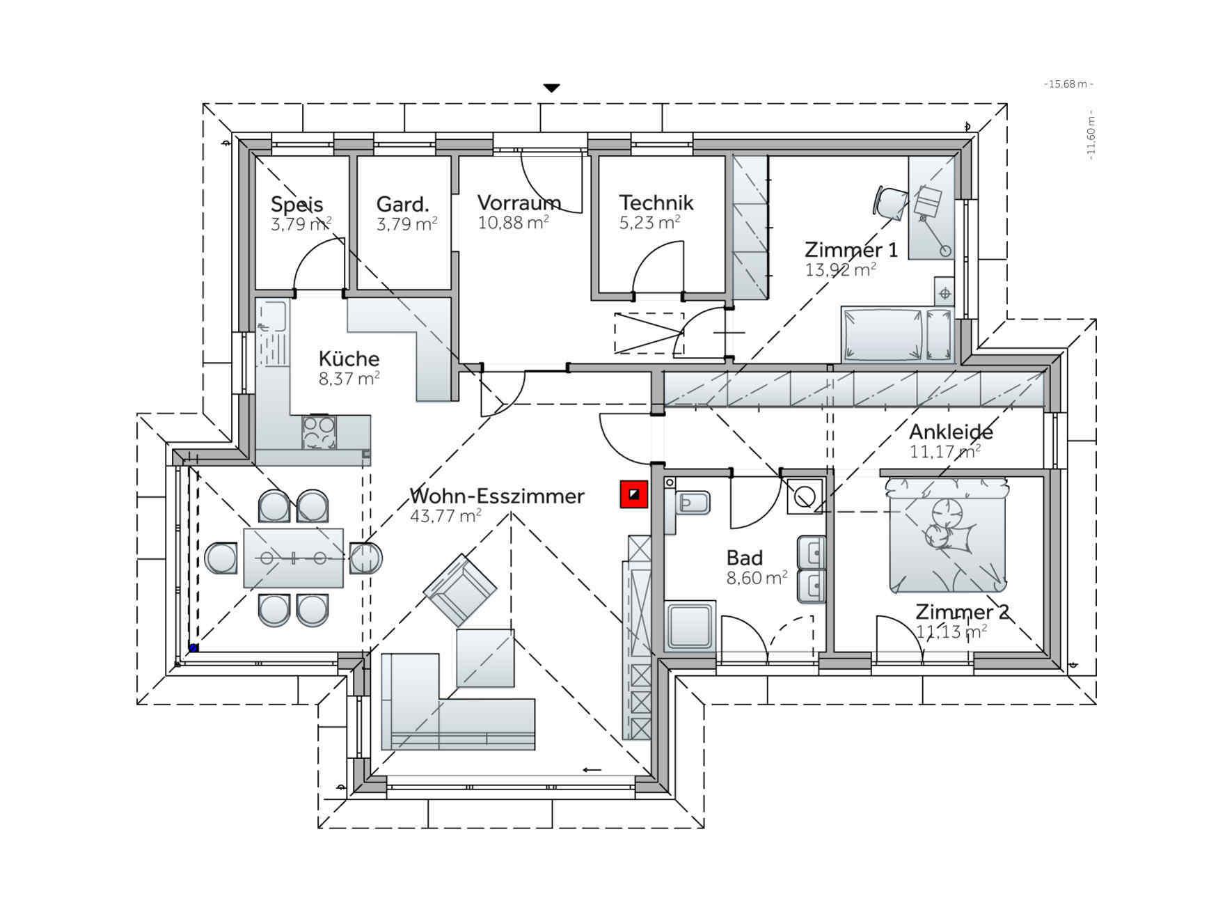 Grundriss Bungalow Vario Haus S141 Small