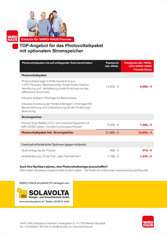 VARIO-HAUS Fertighaus Angebot Photovoltaik-Anlage