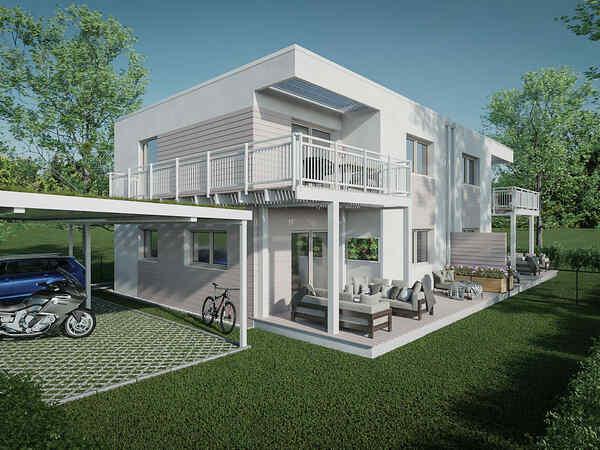 Doppelhaus mit 2 Carport-Stellplätzen pro Wohneinheit