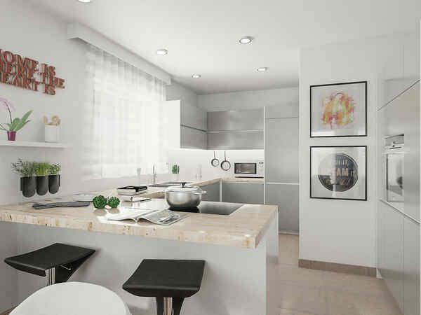 Individuell gestaltbare Küche mit Gartenblick