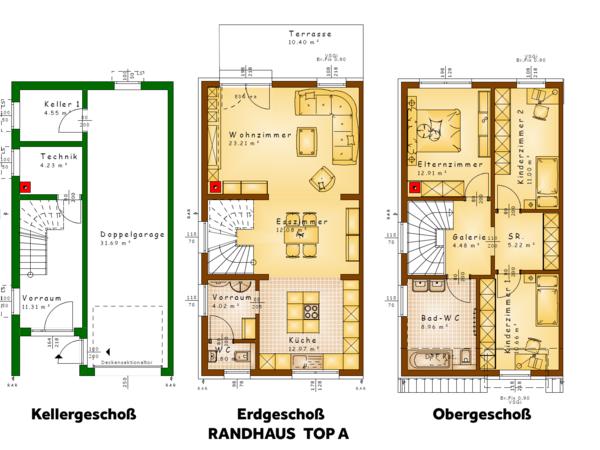 Grundrisse TOP A (Randhaus)
