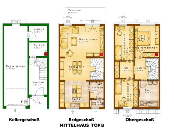 Grundrisse TOP B (Mittelhaus)