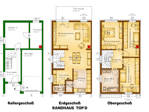Grundrisse TOP D (Randhaus)