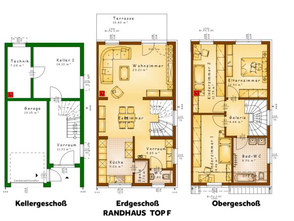 Grundrisse TOP F (Randhaus)