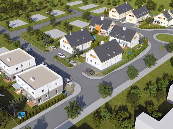 Doppelhaus-Einheiten in ruhiger Wohnsiedlung