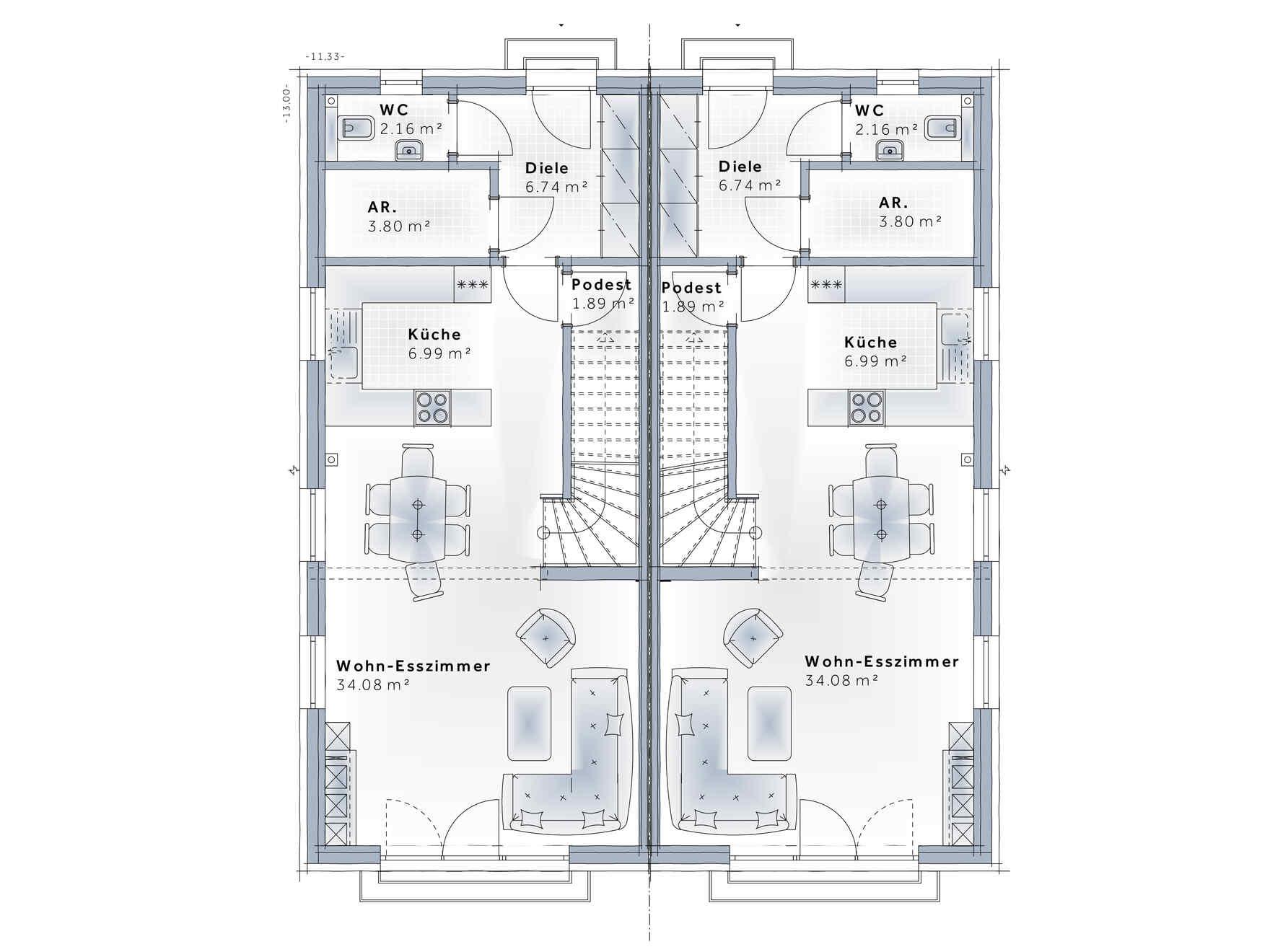 casa prefabbricata in legno Duplex D110