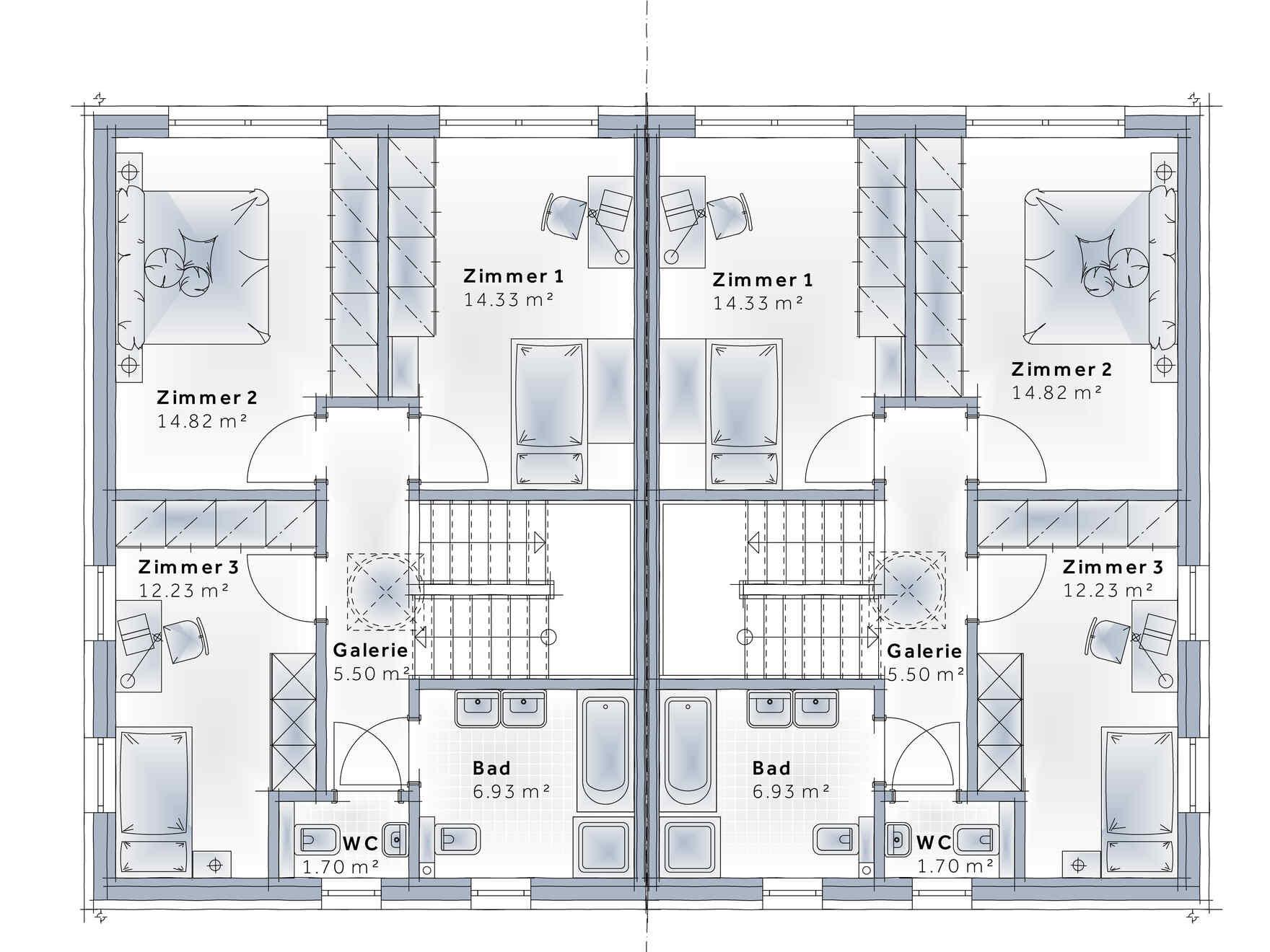 casa prefabbricata in legno Duplex D113 S