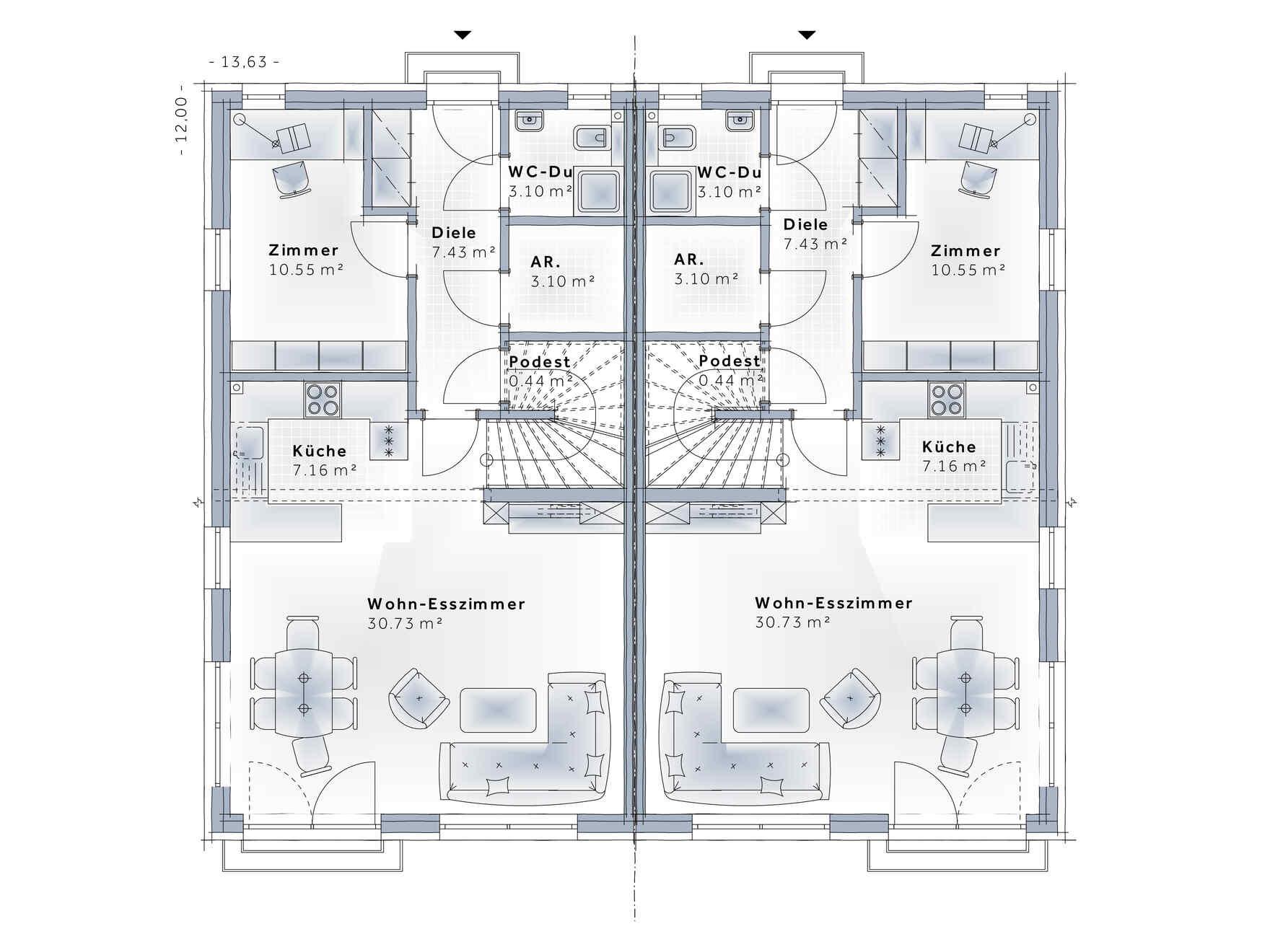 Maison préfabriquée Duplex D124