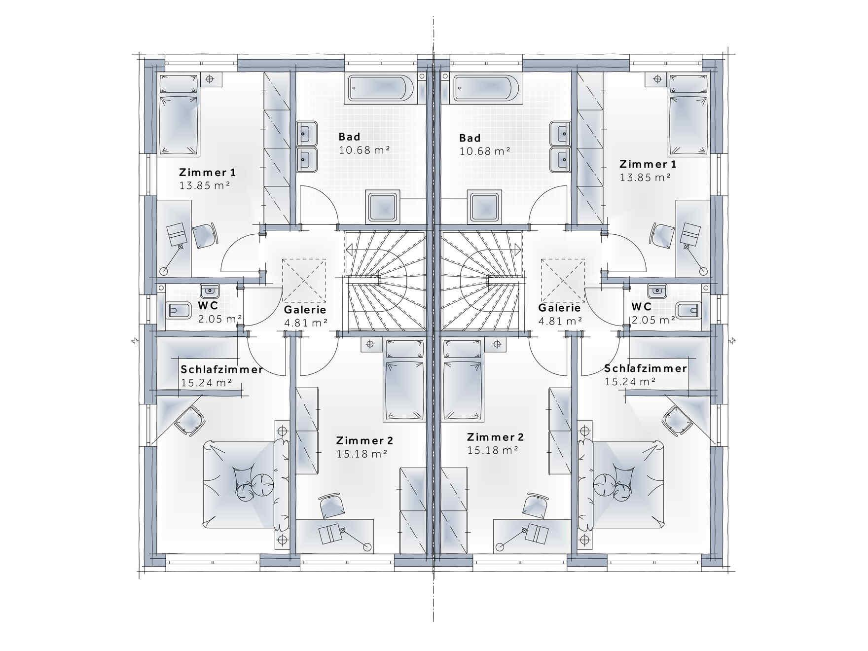 casa prefabbricata in legno Duplex D124