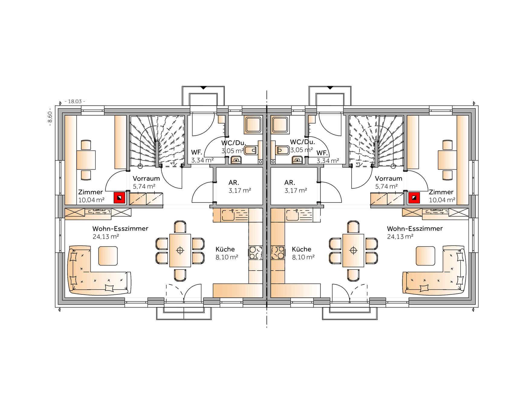 Fertighaus Duplex D115
