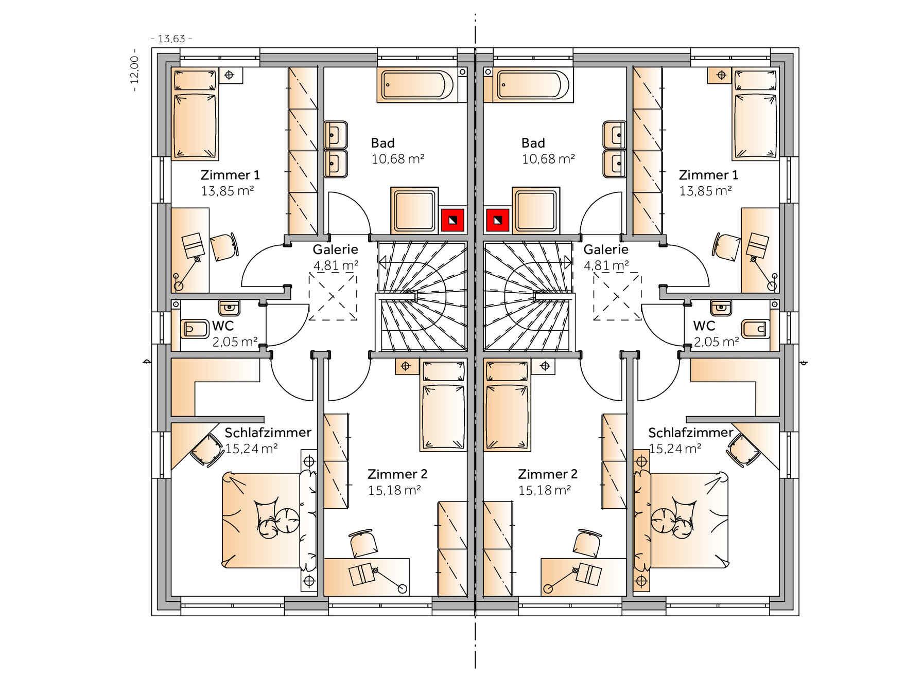 Fertighaus Duplex D124