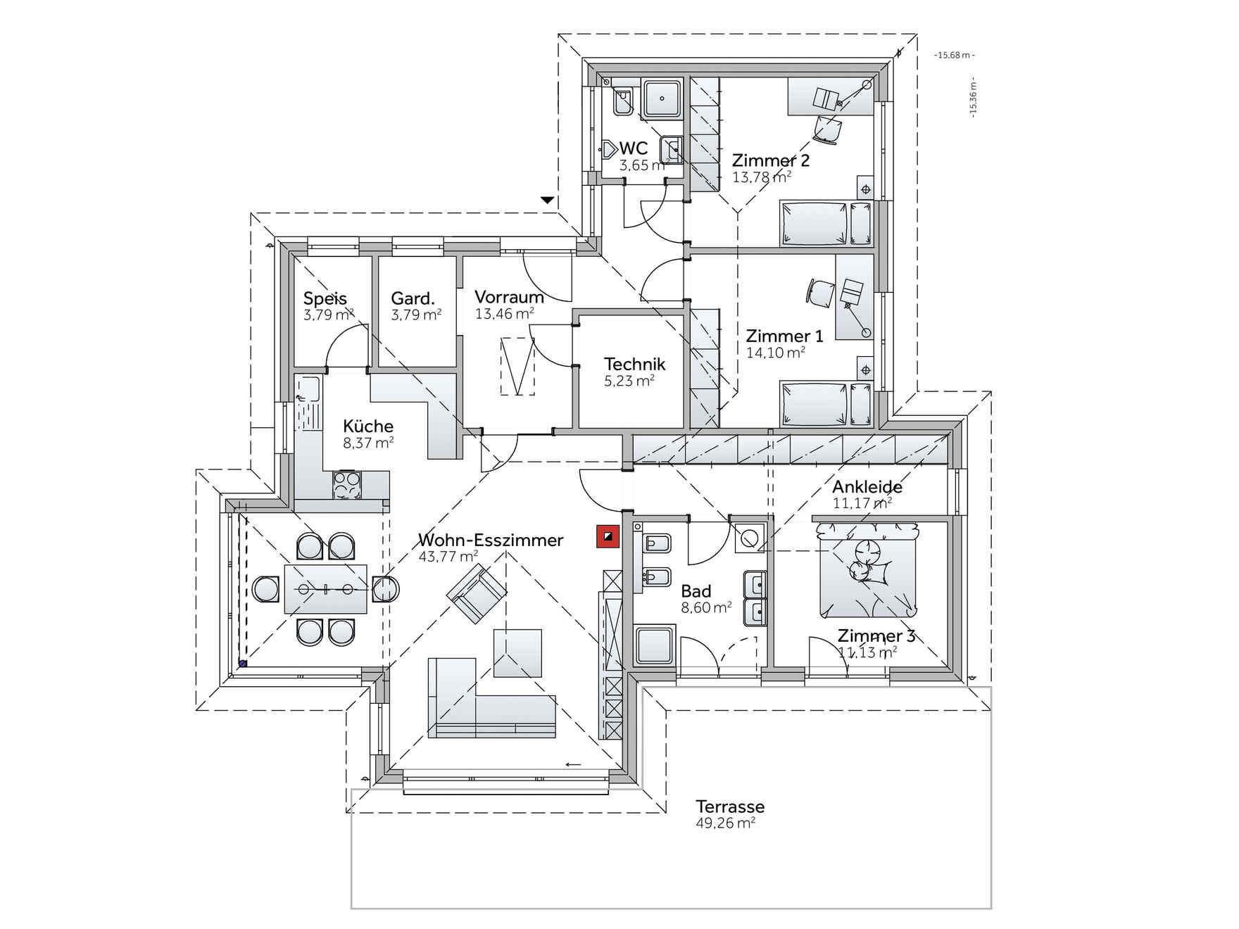 Musterhaus grundriss bungalow  Musterhaus Bungalow S141 Graz - Besichtigung, Planung & Kauf ...