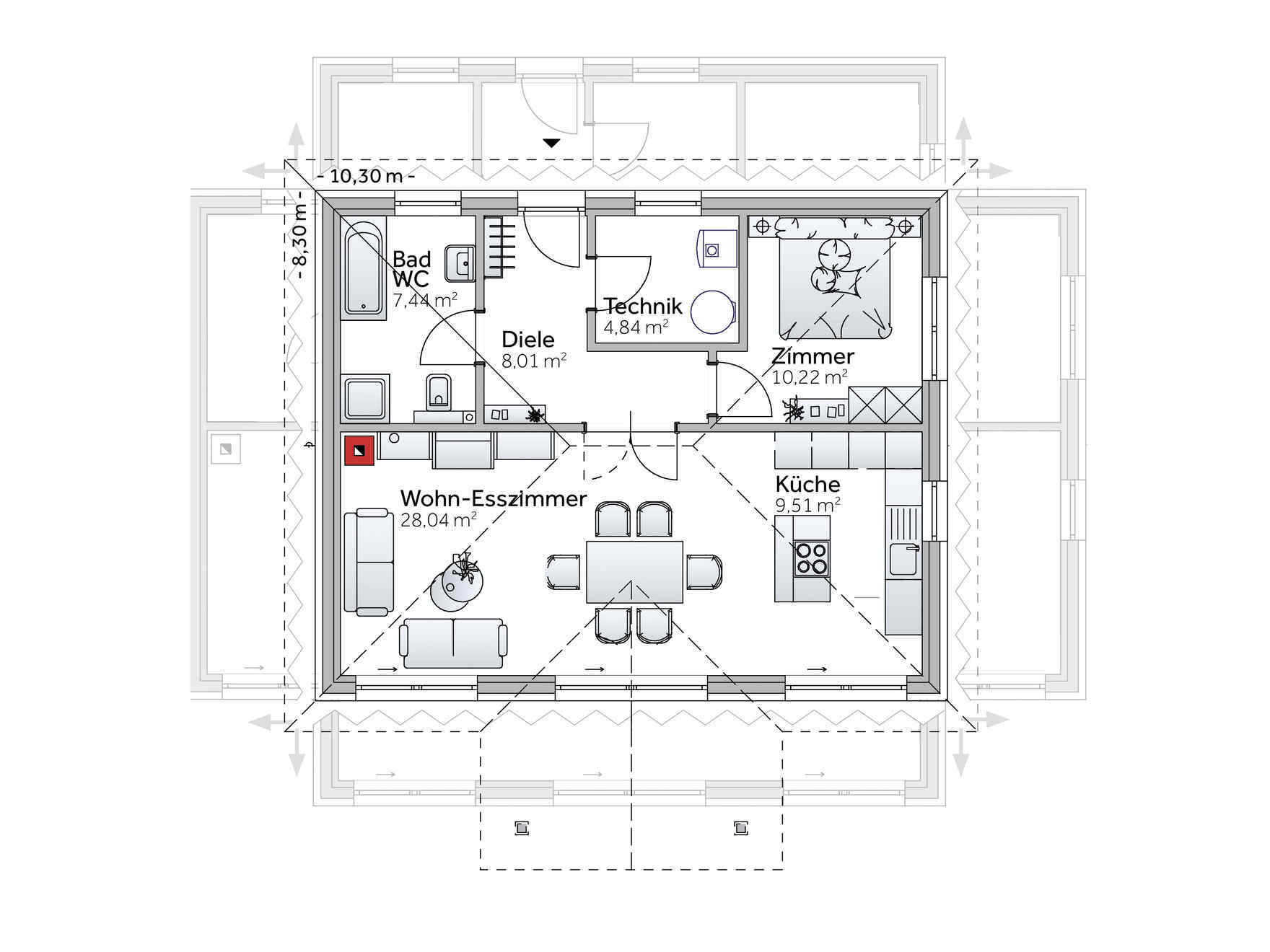 Bungalow Grundriss VARIO-HAUS New Design V Small
