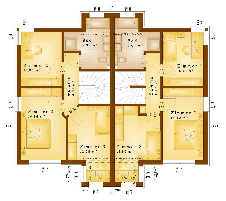 Grundriss Obergeschoss Doppelhaus Rysergasse